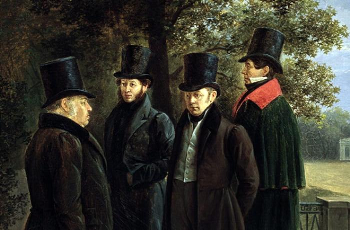 Г. Чернецов. Крылов, Пушкин, Жуковский и Гнедич в Летнем саду, 1832. Фрагмент | Фото: artpoisk.info