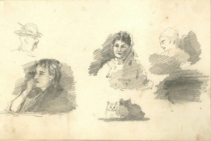 Ольга Лагода-Шишкина. Автопортрет. Наброски, 1880 | Фото: zdravrussia.ru