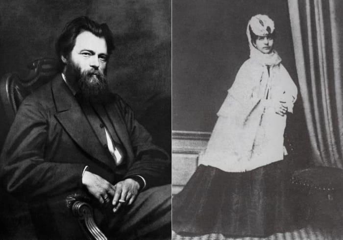 Знаменитый художник-пейзажист Иван Шишкин и его жена Евгения | Фото: artchive.ru и liveinternet.ruн