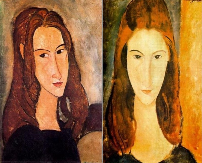 Амедео Модильяни. Слева – *Голова Жанны Эбютерн в профиль*. Справа – портрет Жанны Эбютерн, 1919