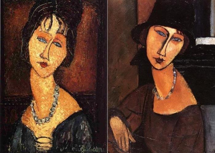Амедео Модильяни. Слева – портрет Жанны Эбютерн с бусами, 1917. Справа – портрет Жанны Эбютерн в шляпе и с бусами, 1917