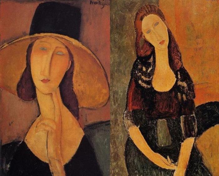 Амедео Модильяни. Слева – портрет Жанны Эбютерн в широкополой шляпе, 1918. Справа – портрет сидящей Жанны Эбютерн, 1918