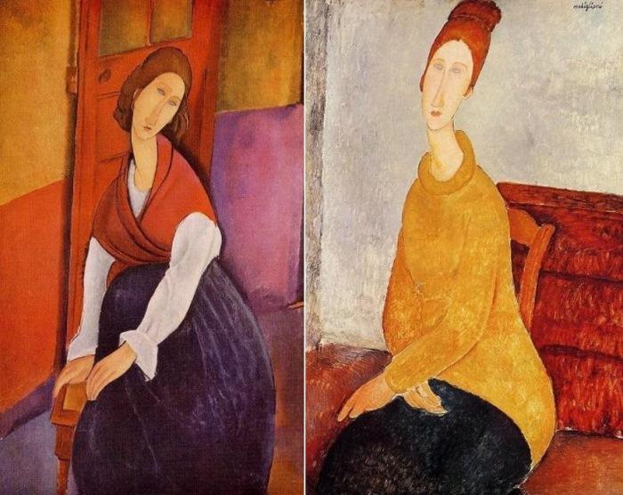 Амедео Модильяни. Слева – портрет Жанны Эбютерн на фоне дверей, 1919. Справа – Портрет Жанны Эбютерн в желтом свитере, 1919