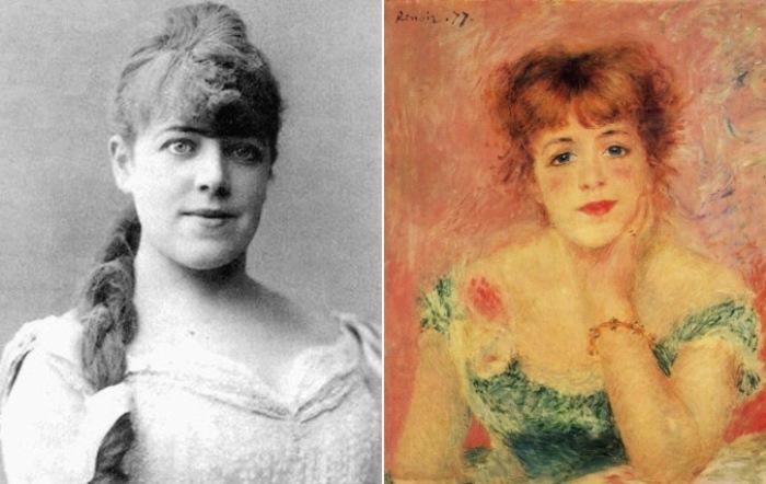 Слева – Феликс Надар. Портрет Жанны Самари, 1877. Справа – Огюст Ренуар. Портрет Жанны Самари, 1877