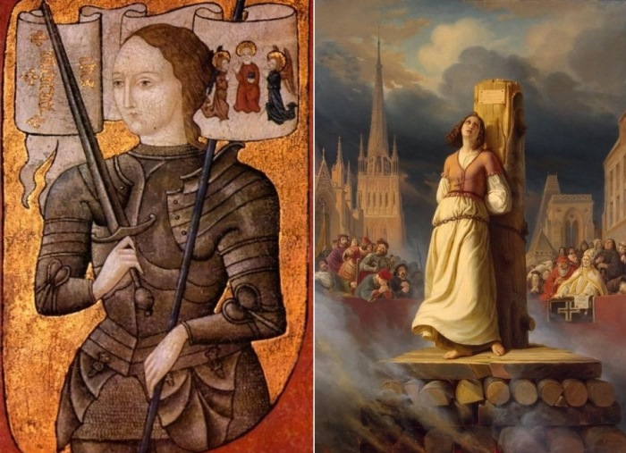 Слева – Жанна д'Арк. Миниатюра второй половины XV в. Справа – Г. Штильке. Смерть Жанны д'Арк на костре