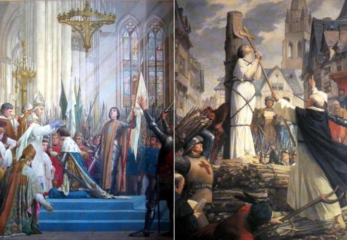 Ж. Э. Леневе. Слева – *Жанна д'Арк на коронации Карла VII*.  Справа – *Жанна на костре*, 1886-1890