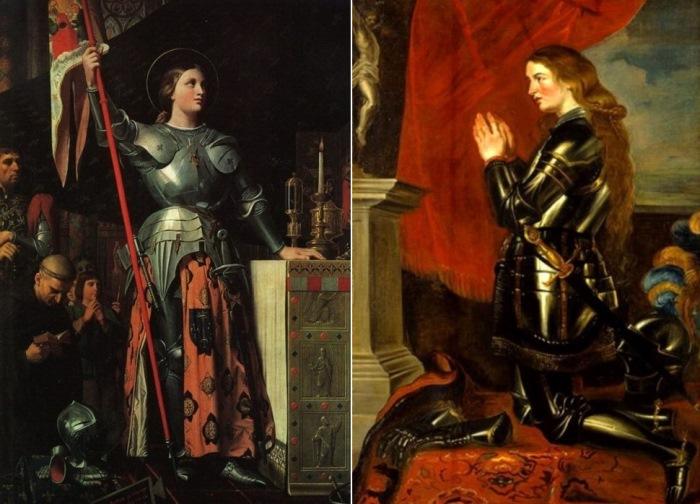 Слева – Ж.-О. Д. Энгр. Жанна д'Арк на коронации Карла VII, 1854. Справа – П. П. Рубенс. Молящаяся Жанна д'Арк, ок. 1620