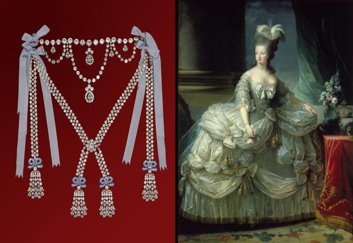 Роковое ожерелье (реконструкция) и пострадавшая из-за него Мария-Антуанетта
