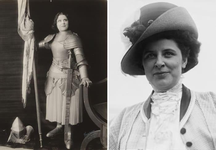 Оперная певица Джеральдина Фаррар примерила на себя образ Жанны Д'Арк в 1916 г. | Фото: biozvezd.ru и sonya-blocknote.blogspot.com