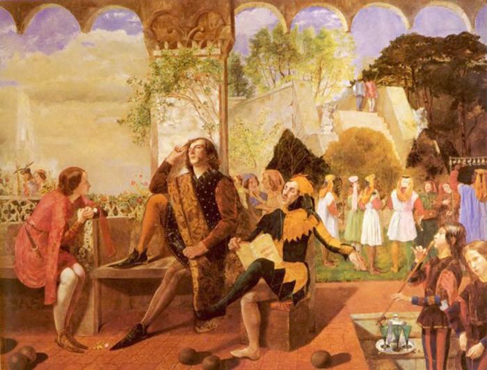 Уолтер Деверелл. Двенадцатая ночь, 1849-1850. Переодетая Цезарио Виола – Лиззи Сиддал