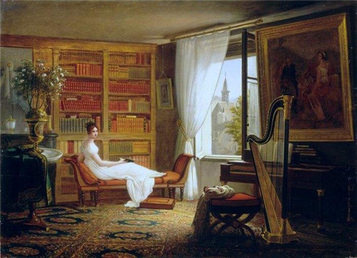 Франсуа-Луи Дежюнне. Мадам Рекамье в салоне монастыря Аббе-о-Буа, 1826