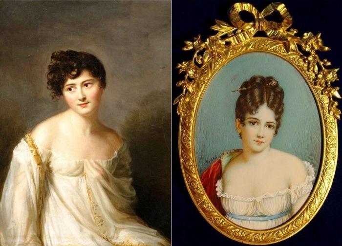 Слева – Фирмин Массо. Портрет Жюли Рекамье, 1807. Справа – Жан-Франсуа Валли. Жюли Рекамье, 1800