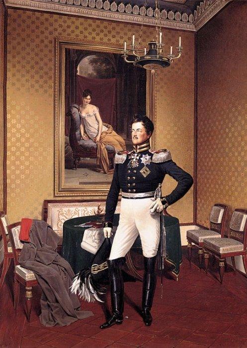 Принц Август Прусский заказал Францу Крюгеру свой парадный портрет на фоне портрета мадам Рекамье