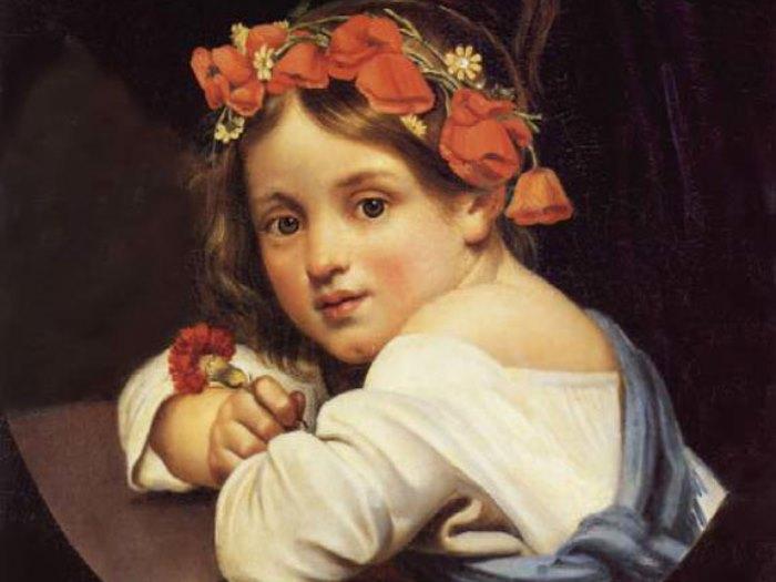 Орест Кипренский. Девочка в маковом венке с гвоздикой в руке, 1819. Фрагмент