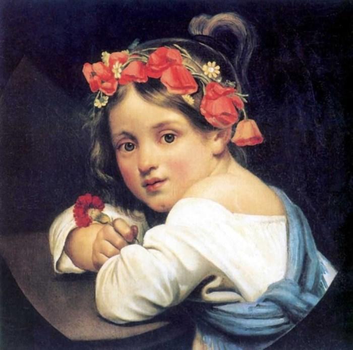 Орест Кипренский. Девочка в маковом венке с гвоздикой в руке, 1819