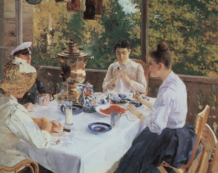 К. Коровин. За чайным столом, 1888 | Фото: rospisatel.ru