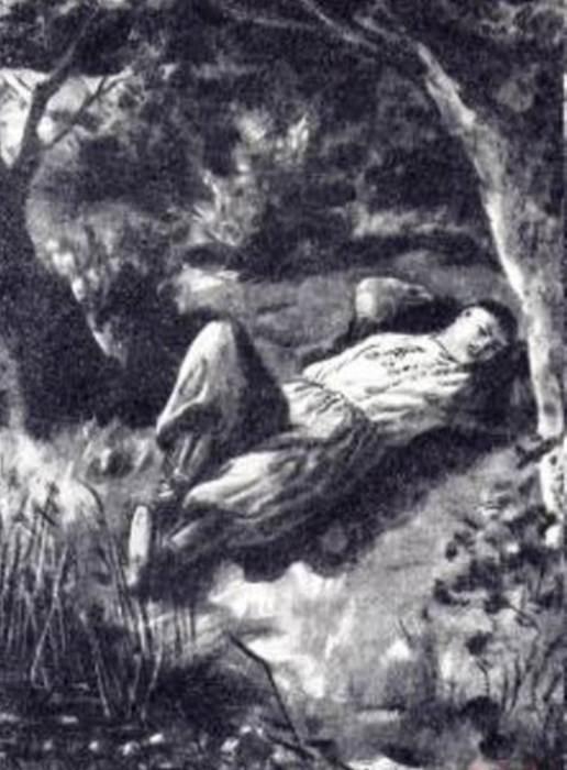 В. Власов. Иллюстрация к повести Н. Гоголя *Майская ночь, или Утопленница*: Спящий Левко, 1946