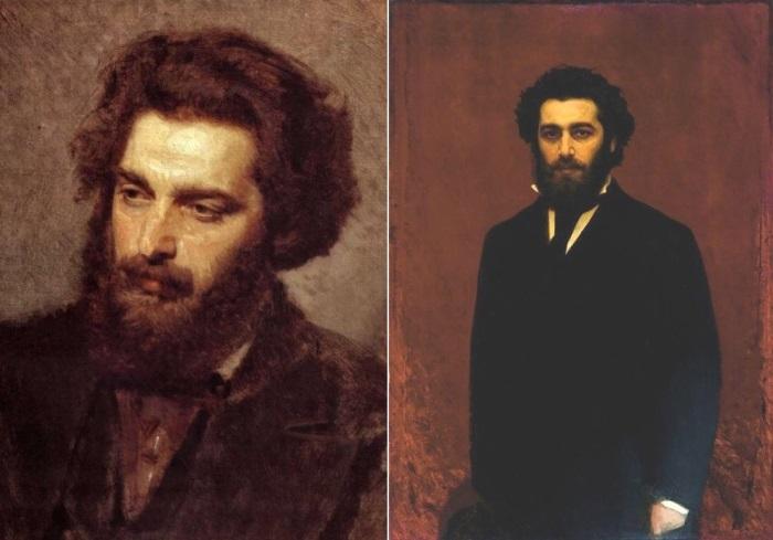 И. Крамской. Портреты А. И. Куинджи 1872 г. и к. 1870-Ñ Ð³Ð³. | Фото: artcontext.info и tanais.info