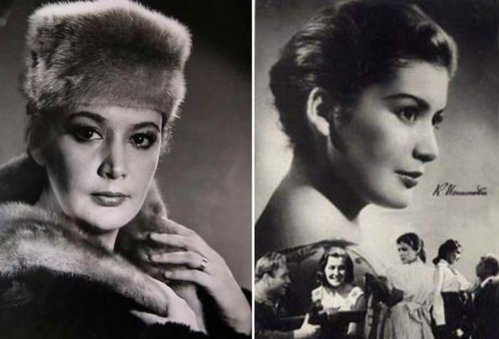 Первая красавица советского кино конца 1950-х – начала 1960-х гг. Кюнна Игнатова   Фото: kino-teatr.ru и leonid-gaidai.ru