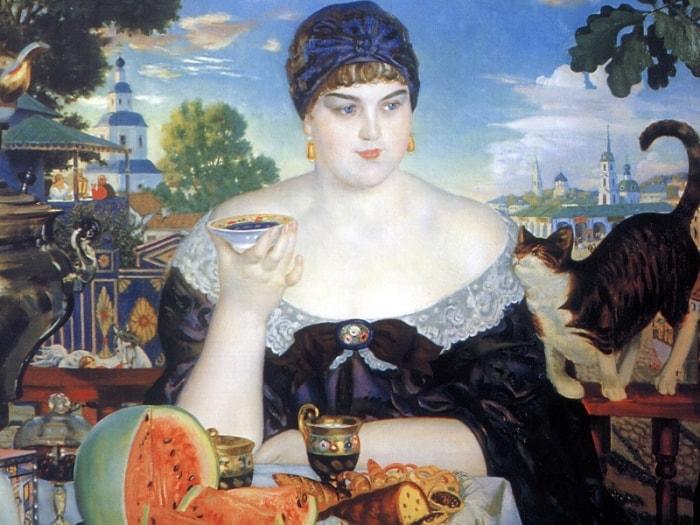 Б. Кустодиев. Купчиха за чаем, 1918 | Фото: allpainters.ru