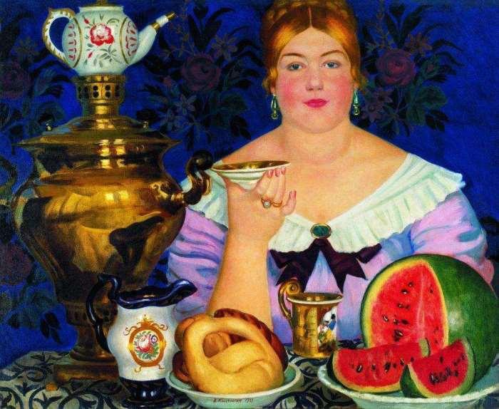 Б. Кустодиев. Купчиха, пьющая чай, 1923 | Фото: artcyclopedia.ru