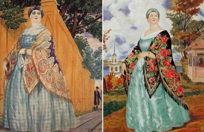 Б. Кустодиев. Слева – *Купчиха на прогулке*, 1920. Справа – *Купчиха*, 1923