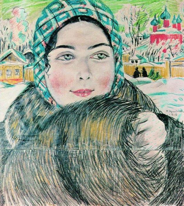 Б. Кустодиев. Молодая купчиха в клетчатом платочке, 1919