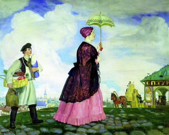 Б. Кустодиев. Купчиха с покупками, 1920