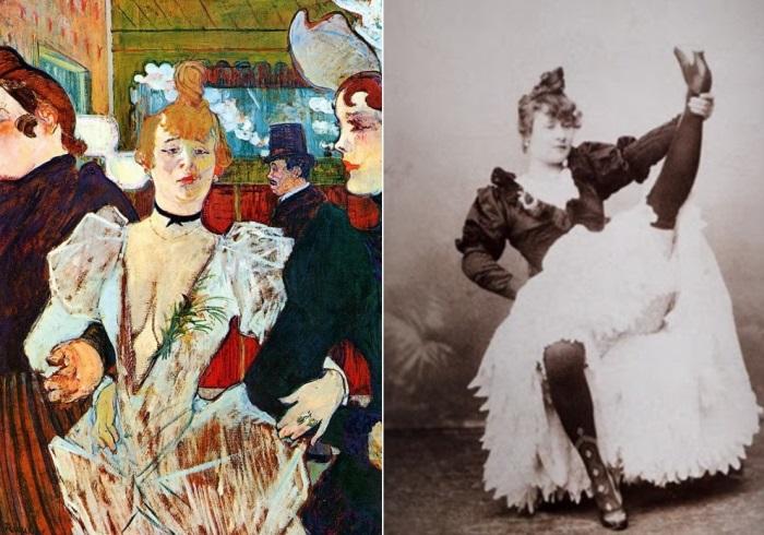 Слева – Анри де Тулуз-Лотрек. Ла Гулю, входящая в Мулен Руж с двумя женщинами, 1892 г. Справа – Ла Гулю   Фото: aria-art.ru и radikal.ru
