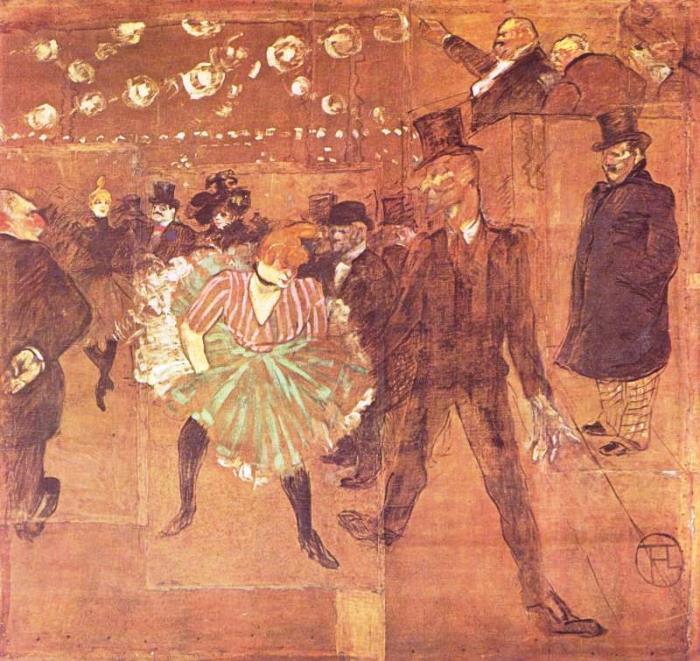 Анри де Тулуз-Лотрек. Танцы в *Мулен Руж*, 1895 г. | Фото: aria-art.ru
