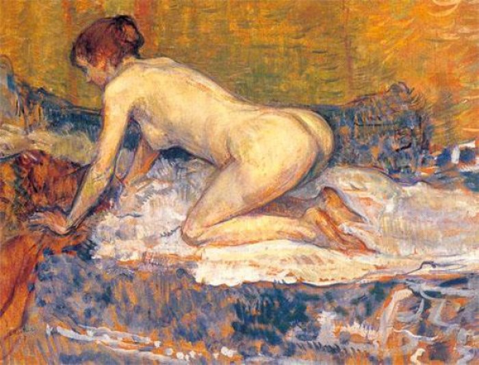 Рыжеволосая женщина на коленях, 1897 г.