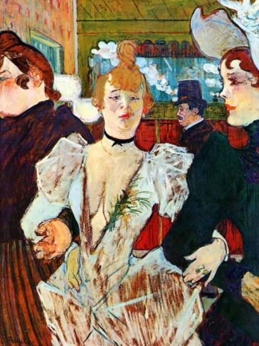 Ла Гулю, входящая в Мулен Руж с двумя женщинами, 1892 г.