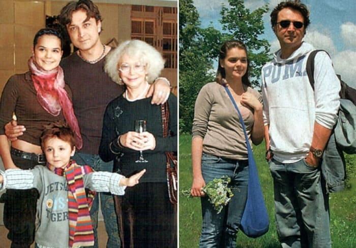 Александр Лазарев-младший с матерью, дочерью и сыном, 2005 и 2008 гг. | Фото: kino-teatr.ru