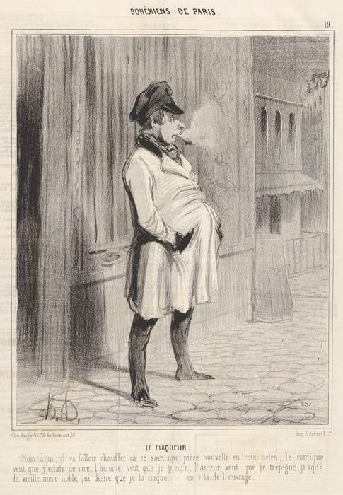 Оноре Домье, *Клакер*, гравюра из цикла *Парижская богема*, 1842