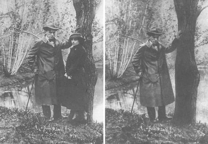 Фото 1918 г. и оно же после ретуши в 1960-х гг. | Фото: telegrafua.com