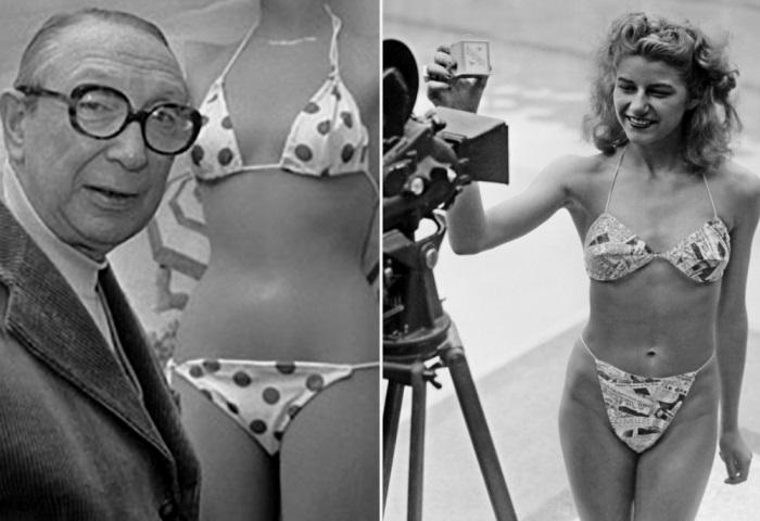Изобретатель бикини Луи Реар и Мишелин Бернардини – первая модель, продемонстрировавшая бикини на подиуме | Фото: scanningwwii.com и diletant.media