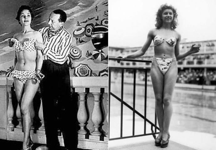 Изобретатель бикини Луи Реар и Мишелин Бернардини – первая модель, продемонстрировавшая бикини на подиуме | Фото: casual-info.ru