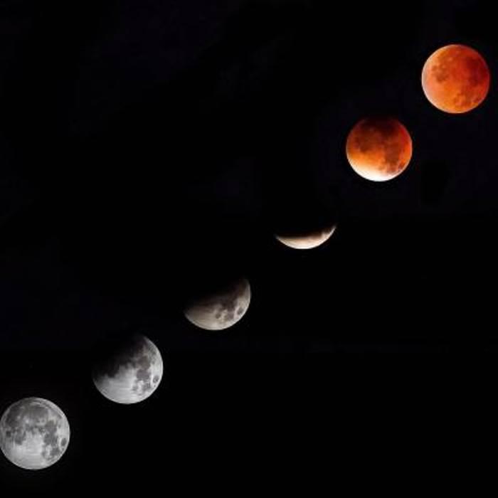 Разные фазы лунного затмения