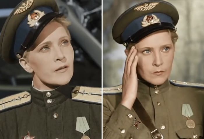 Людмила Глазова в фильме *Небесный тихоход*, 1945 | Фото: kino-teatr.ru