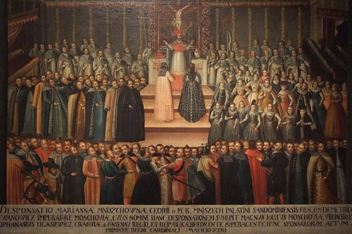 Заочное обручение Марины Мнишек и Лжедмитрия І в Кракове 12 ноября 1605 г. Гравюра XVII в. | Фото: liveinternet.ru