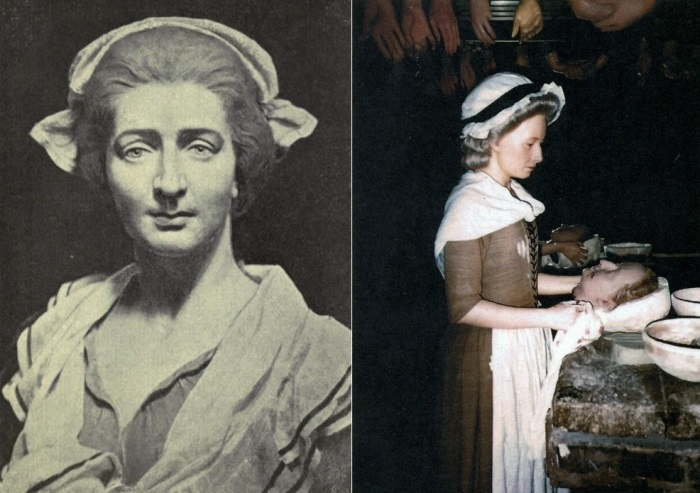 Слева – мадам Тюссо. Справа – мадам Тюссо создает портрет гильотинированной Марии-Антуанетты. Восковая фигура | Фото: tonpix.ru и 100grt.ru