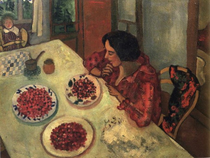 Марк Шагал. Клубника. Белла и Ида за столом, 1915