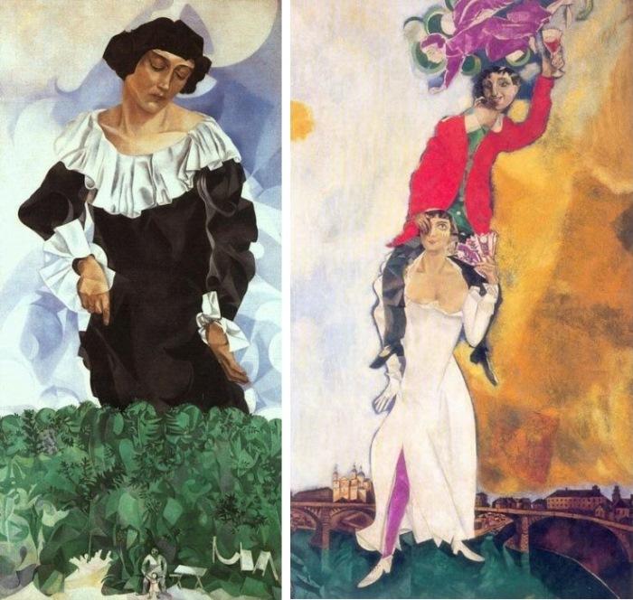 Марк Шагал. Слева – *Красавица в белом воротнике*, 1917. Справа – *Двойной портрет с бокалом вина*, 1917