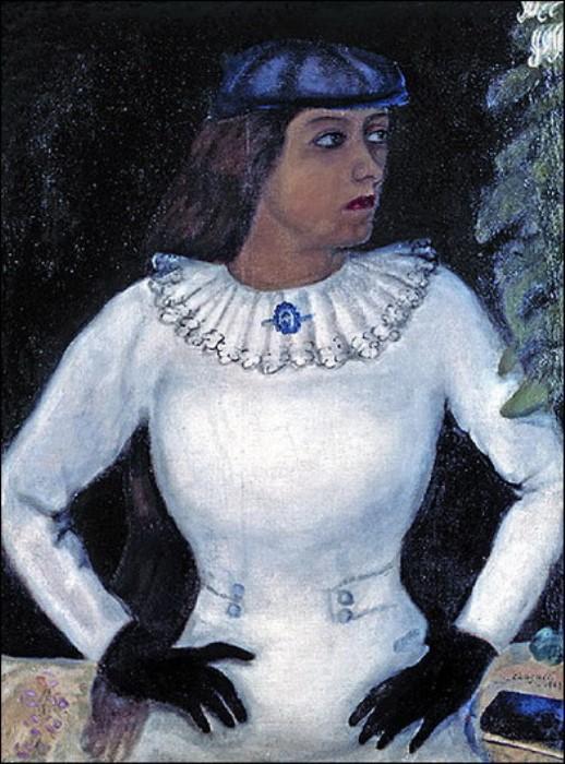 Марк Шагал. Белла в белых перчатках, 1915