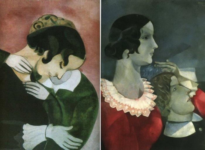 Слева – *Розовые любовники*, 1916. Справа – *Серые любовники*, 1917
