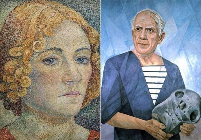 Слева – Мария Воробьёва-Стебельская (Маревна). Автопортрет, 1929 г. Справа – Маревна. Портрет Пабло Пикассо, 1956
