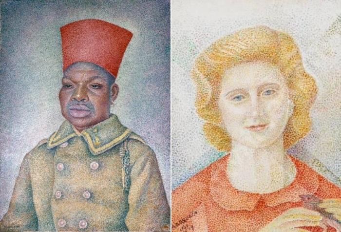 Маревна. Слева – Сенегальский солдат, 1932. Справа – Мария с птицей