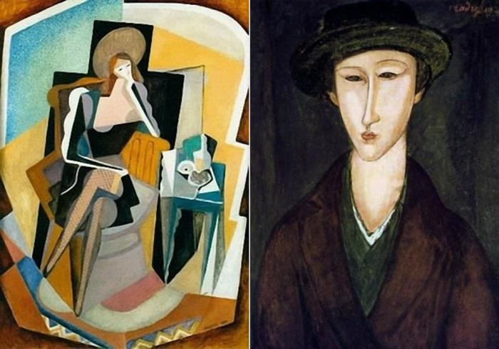 Слева – Маревна. Автопортрет с натюрмортом, 1917. Справа – А. Модильяни. Портрет Маревны, 1919