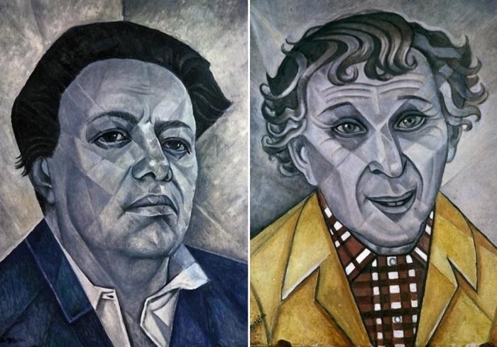 Маревна. Слева – Портрет Диего Риверы, 1960. Справа – Портрет Марка Шагала, 1956