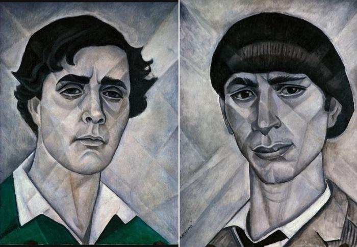 Маревна. Слева – Портрет Амедео Модильяни, 1955. Справа – Портрет Осипа Цадкина